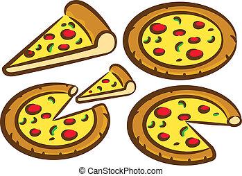 set, delizioso, pizza