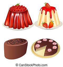 set, dessert, gelatina, fragole, torta ciliegia