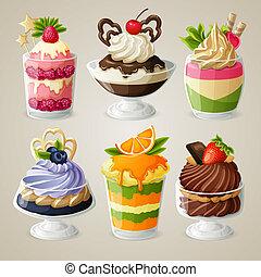 set, dessert, ghiaccio, dolci, mousse, crema