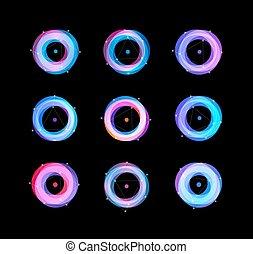 set, dischi, vettore, dentro, minimalista, astratto, filatura, cerchio, logos, puntino, disegno, isolato, logotipo, rotondo, astrologia, variopinto, logo.