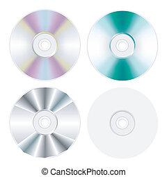 set, disco, isolato, dvd, cd