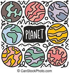 set, disegnato, mano, pianeti, scarabocchiare