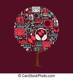 set, dj, albero, concetto, musica, festa, icona