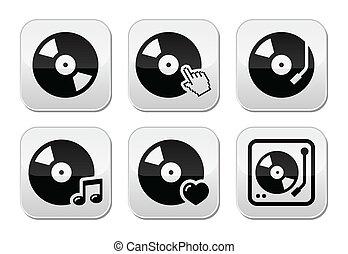 set, dj, disco, bottoni, vettore, vinile