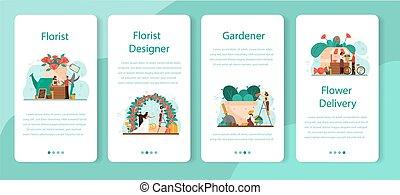 set., domanda, fioraio, creativo, concetto, mobile, bandiera, occupazione