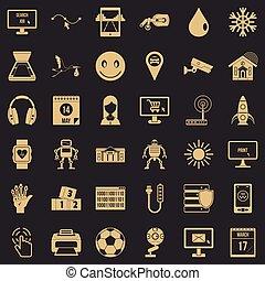set, domanda, stile, icone semplici