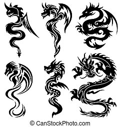 set, draghi, cinese, tribale