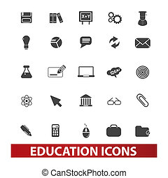 set, educazione, vettore, icone