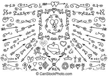 set, element., amore, decorazione, scarabocchiare, frecce