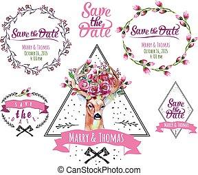set, elements., cornice, watercolor., cervo, matrimonio, floreale, risparmiare