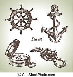 set, elements., mano, disegno, mare, nautico, illustrazioni, disegnato