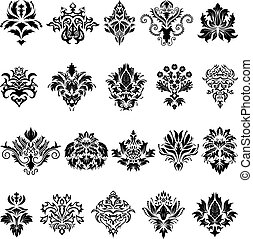set, emblema, damasco