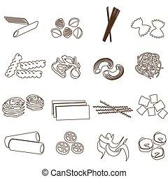 set, eps10, contorno, icone, cibo, pasta, tipi