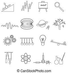 set, eps10, contorno, icone, semplice, vettore, fisica