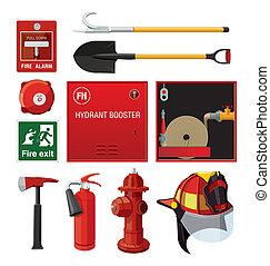 set, equipment., antincendio