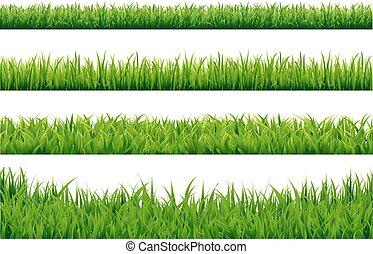 set, erba, profili di fodera, verde