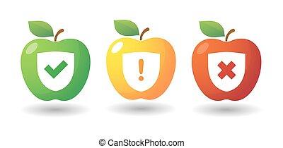set, esame, mela, icona, icone