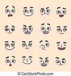 set, espressione, umore, facciale, icone