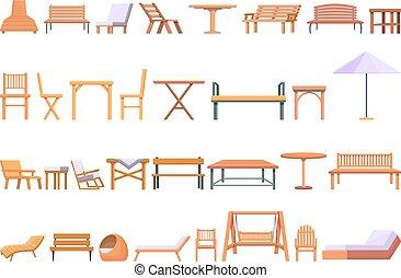 set, esterno, icone, stile, mobilia, cartone animato