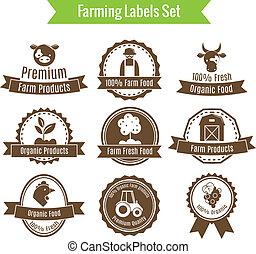set, etichette, agricoltura, agricoltura, o, tesserati magnetici, raccolta