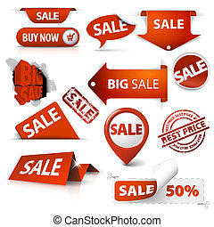 set, etichette, etichette, vendita, angoli, biglietti, francobolli, adesivi