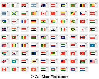 set, etichette, -, illustrato, bandiere, mondo