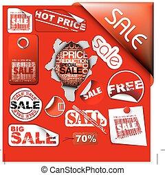 set, etichette, vendita, biglietti, francobolli, adesivi