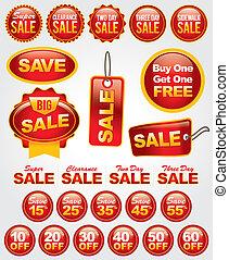 set, etichette, vendita, vettore, promozione, tesserati magnetici