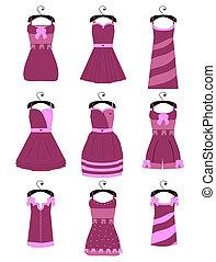 set, femmina, vestiti