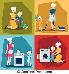 set, figlia, madre