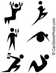 set, figura bastone, esercizio
