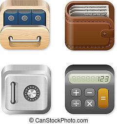 set, finanza, icone