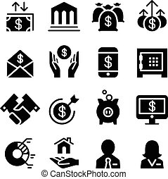 &, set, finanziario, affari, icona