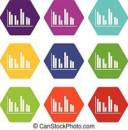 set, finanziario, colorare, hexahedron, grafico, analisi, icona