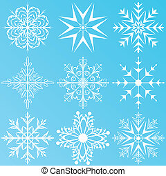 set, fiocchi neve, variazione, isolato