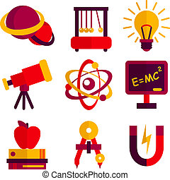set, fisica, astronomia, icone