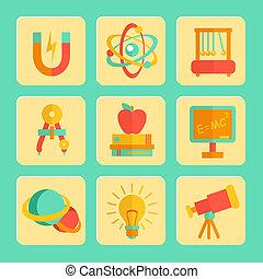 set, fisica, disegno, icone, appartamento