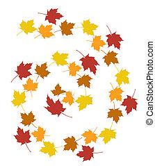 set, foglie, autunno, fondo., bianco, sopra
