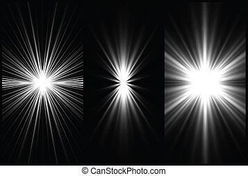 set, fondo., vettore, illuminazione, nero, bianco
