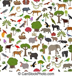 set, foresta pluviale, tropicale, naturale, australiano, regione, biome, uccelli, disegno, subtropicale, africano, vegetations, ecosistema, amazonian, rainforests., seamless, pattern., animali, asiatico