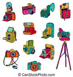 set, foto, cameras, -, hand-drawn, vettore, doodles