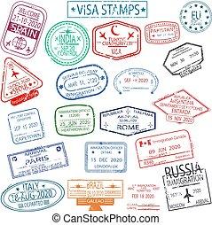 set, francobolli, visto, partenza, arrivo