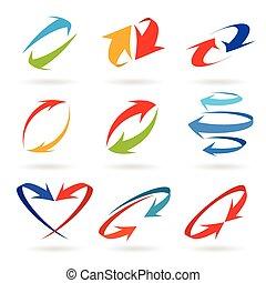 set, frecce, colorito, 3d