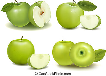 set, fresco, mele verdi