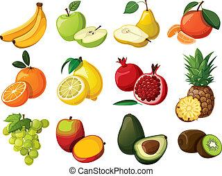 set, fruit., delizioso, isolato