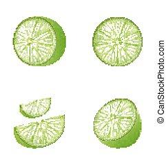 set, frutta, calce
