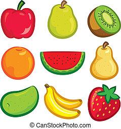 set, frutta, icona