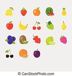 set, frutta, icone, colofrul