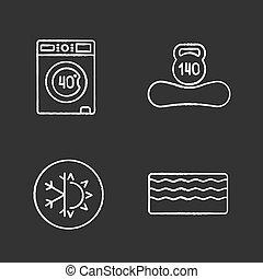 set, gesso, ortopedico, materasso, icone