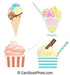 set, ghiaccio, vettore, illustrazione, white., crema